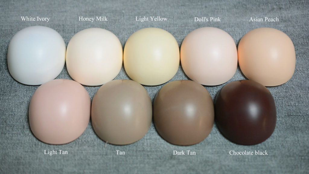 Chart of skin colors.
